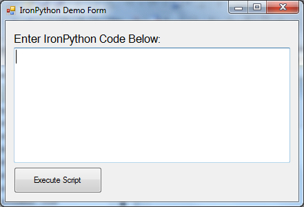 IronPython Demo Form Screenshot