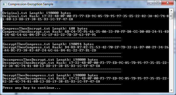 Compression Encryption Sample Screenshot